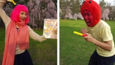 青森県で「りんご飴マン」 VS はるりんご「りんご頂上決戦!?」動画