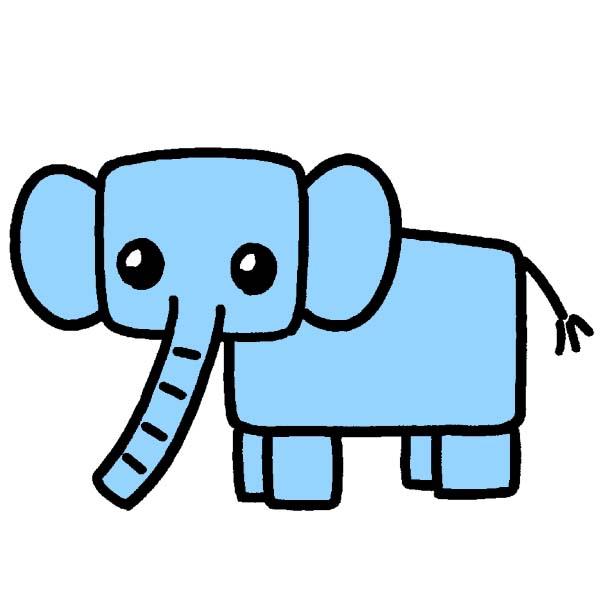 イラストじゅくゾウの描き方四角をうまく使ってゾウの大きさを