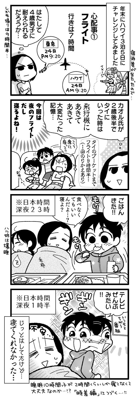 漫画『怒涛のにゅーじヨージ』Vol.189「子連れハワイってどーなの?①飛行機編」 1コマ目