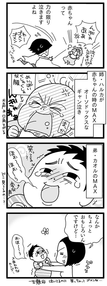 漫画『怒涛のにゅーじヨージ』Vol.7「ギャン泣きMAX」 1コマ目