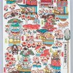 ハム太郎たちのお祭り行列!? 神田明神にて、河井先生の原画が見られます。