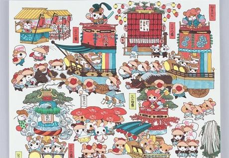 もういちど、ハム太郎たちのお祭り行列を 河井先生の原画が神田明神で再展示!